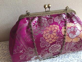 がまぐちバッグ・角型口金 紫色帯地の花柄の画像