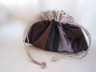 縞きもの地ふち編み巾着の画像