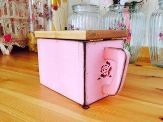 木製 薔薇の調味料入れキッチンストッカーコンテナアンティーク調ローズモチーフ洗剤収納カントリーの画像