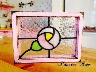 【オーダー】 ステンドグラス ミニパネル ローズピンクの画像