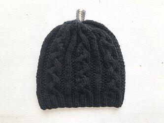 コットン帽子point[ブラック]の画像