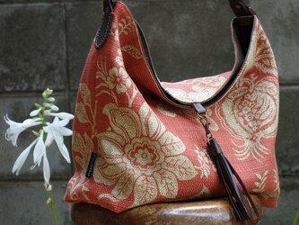ワンハンドルのくったりバッグ(輸入生地:サンダーソン社製赤レンガ色使用)の画像
