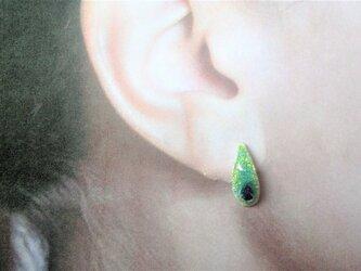 滴型青黄硝子七宝耳飾の画像