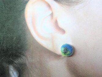 丸形青黄硝子七宝耳飾の画像