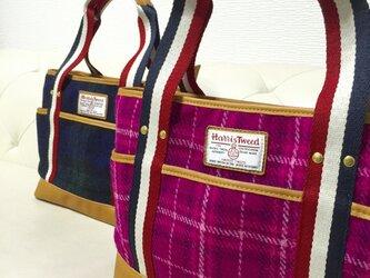 ハリスツイードのトートバッグ(ピンク&パープル)の画像