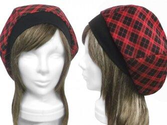 チェック柄ジャガード織コットンニット/リブ付ベレー帽(ゆったり)◆レッド×ブラックの画像