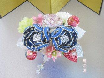 七五三 成人式  水引花髪飾り 和装 着物ヘアアクセサリー振袖 青系の画像