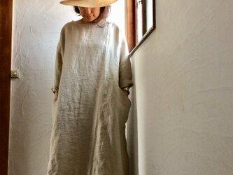 リネン100 ビックポケットワンピース 生成りベージュ おうち服の画像