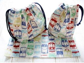【受注製作】お弁当袋&コップ袋&ランチマットset*レトロ電車生成の画像