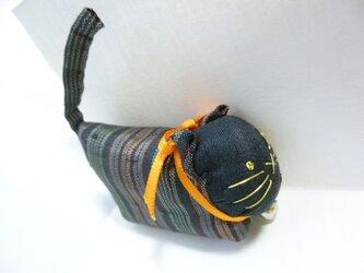 古布 キュートな猫の人形★首輪はオレンジの画像