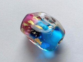 とんぼ玉12角形濃ピンク青の画像