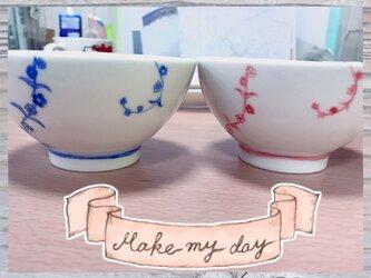 シンプルな彩り夫婦茶碗の画像
