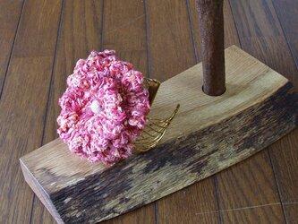花のバングル ピンク×ゴールドの画像