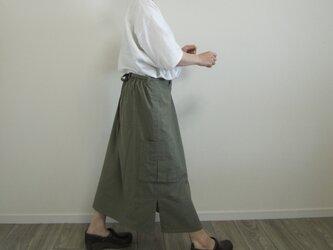 再販:カーキ色コットンのワークロングスカート  スカート丈セミオーダーの画像