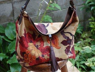 ワンハンドルのくったりバッグ(輸入生地:サンダーソン社製アマンプリ使用)の画像