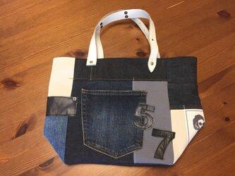 最新作☆デニム&倉敷8号帆布トートバッグ Mサイズ 羊毛さん白革blue57の画像