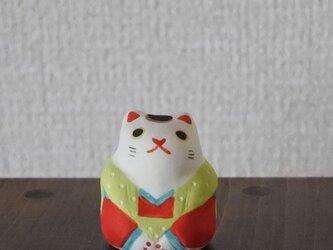 ミニ福猫 黄緑×赤の画像