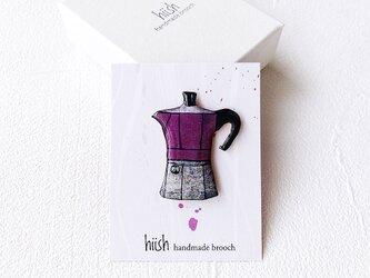 マキネッタのブローチ(紫/ボックス入り)の画像