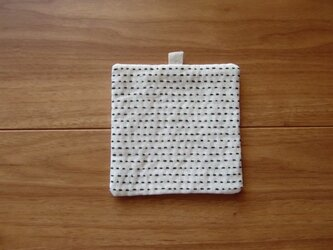 《受注制作》てんてんコースター(白・黒糸)の画像