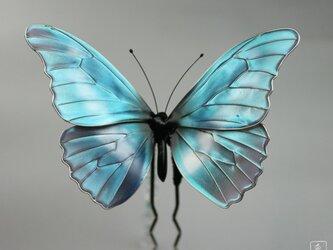 ヘレナモルフォの簪     かんざし ディップアート 蝶の画像