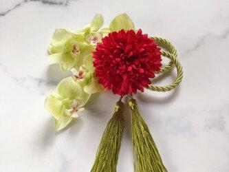 ピンポンマム 胡蝶蘭 セット タッセル付き greenの画像