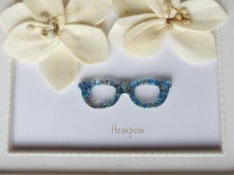 メガネのピンブローチ ミックスガラス ホムポムの画像