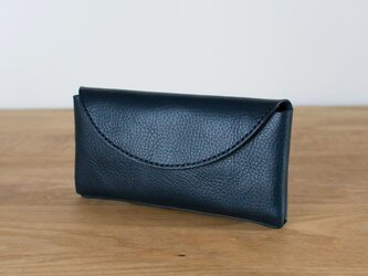 イタリア製牛革のコンパクトな長財布2  /   ブラック※受注製作の画像