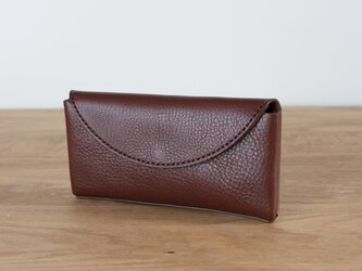 イタリア製牛革のコンパクトな長財布2  /   ダークブラウン※受注製作の画像
