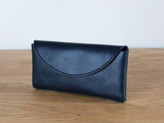 イタリア製牛革のコンパクトな長財布2  /   ネイビー※受注製作の画像