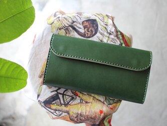 【受注生産品】フラップ長財布 ~栃木アニリン緑×栃木サドル~の画像