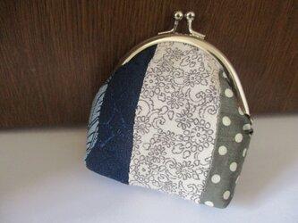 着物生地のがま口財布(碧玉)の画像