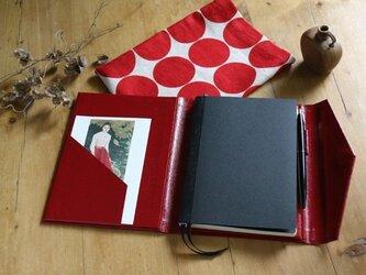B6サイズノートカバー赤水玉(ノート&布ケース付)の画像