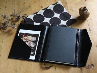 B6サイズノートカバー黒水玉(ノート&布ケース付)の画像