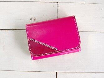 手染め本革Colorful財布・ハーフサイズ/ピンク色の画像