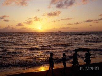 夕日と子供達  PH-A4-071  スリランカ コロンボ 港湾 夕日 帰り道 渚 の画像