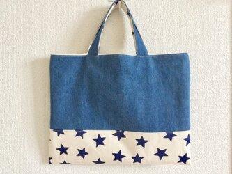 デニムと帆布のおけいこバッグ【絵本袋】の画像