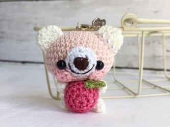 【受注生産】パッションピンク林檎・白ピンククマ*鈴付きイヤホンジャックストラップの画像