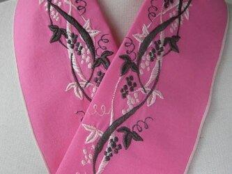 半衿・刺繍半衿・葡萄(ピンク)の画像