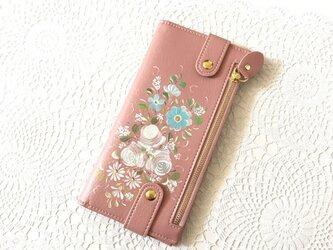 花ペイント カードケース(サーモンピンク)_バラとアネモネ【受注制作】の画像