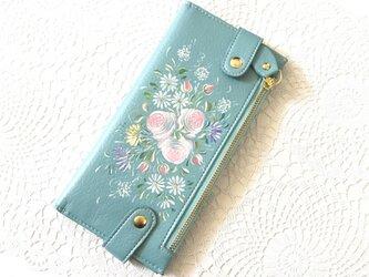 花ペイント カードケース(ブルー)_バラとマーガレット【受注制作】の画像