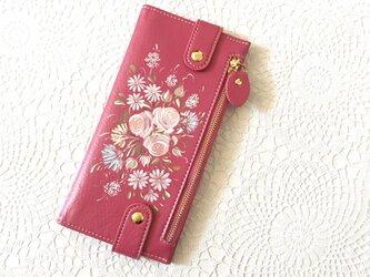 花ペイント カードケース(ピンク)_バラとマーガレット【受注制作】の画像