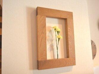 ☆季節の花や草木で壁を彩る一輪差し☆ フラワーフレーム(ホワイトオーク材)の画像