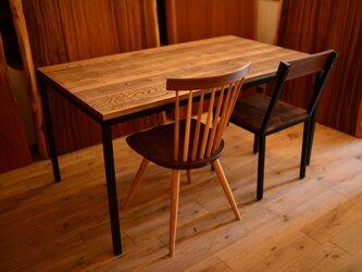 男前なノコ目が無骨な仕上げ・古材風ビンテージ&アンティーク調アイアンテーブルの画像
