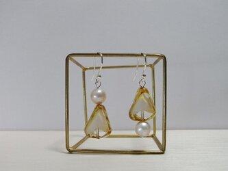 【silver925】淡水パールとチェコガラスのピアスの画像