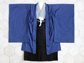 ◆羽織袴セット/紺チェック/5歳の画像