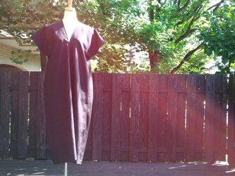黒×濃茶チェック紬地リメイクふんわりAラインワンピースの画像
