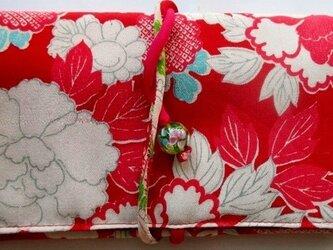 送料無料 花柄の長襦袢で作った和風財布・ポーチ 2860の画像