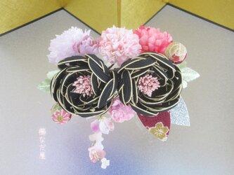 七五三 成人式  水引花髪飾り 和装 着物ヘアアクセサリー振袖 黒ピンク系の画像