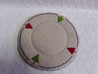 リネンと毛糸と刺繍のポットマット③の画像