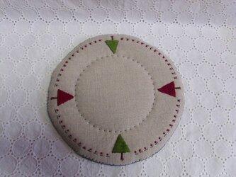 リネンと毛糸と刺繍のポットマット④の画像